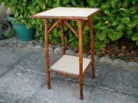 Bamboo Table New top and shelf Victorian/Edwardian