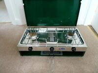Camping Stove, Two Hobs and Grill. Regulator, Instructions and Box included
