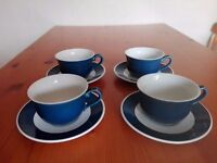 4 x blue and white cups and saucers
