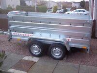 Trailer twin axle, double broadside flat cover free