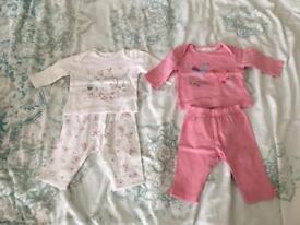 2 pairs of girls garden themed pyjamas 0-3 months
