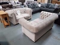 Brand New 2+2 Silver Velvet Chesterfield Sofa. ON SALE FROM £1334. Free Delivery Up To 20 Miles.