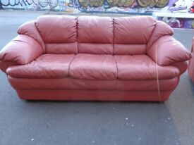 3 Seater Leather Sofa in Dusky Pink/Red. Great Condition
