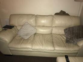 Cream leather 3 seater, chair and footstool