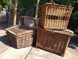 Wicker fishing basket and hamper