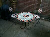 BARGAIN! Garden furniture set two chairs table metal