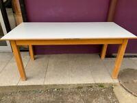 Beech white laminate top canteen table