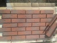 BRICK TILE RED/BLACK FLAMED DEEP PITTED STRUCTURE