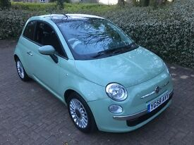 2008 FIAT 500 LOUNGE 1.2 GREEN 3DR WITH PANORAMIC ROOF. BLACK LEATHER