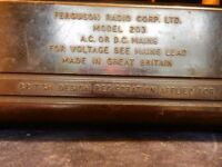 VINTAGE FERGUSON MODEL 2O3 BAKELITE RADIO --- A.C. OR D.C. MAINS.