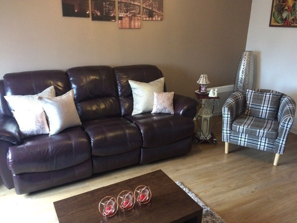 Reclining Brown Leather Sofa Cushions In Dunfermline Fife Gumtree