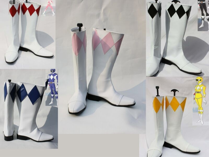 Yellow red pink blue black Zyuranger Power Ranger Superhero Boots shoes shoe