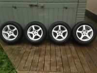 """Set Of 15"""" BK Racing Silver Alloys With Tyres"""
