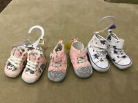Variety of baby girl shoes and boots newborn 0-6m