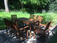 Garden table set with cushions