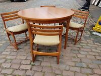 VINTAGE MID CENTURY MCINTOSH TEAK DINING ROOM TABLE ORIG 4 CHAIRS GC FAB RETRO MODERN HOME DECOR USE