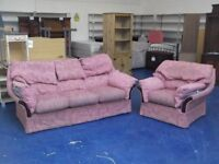 **FREE** Two Piece Pink Suite - 3 Seater + Armchair