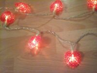 FAIRY LIGHTS, HEARTS - Long cord and battery operated.