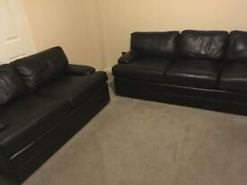 BLACK LEATHER SUNILAND 3+2 SEATER SOFAS - MUST GO ASAP - FREE DELIVERY SOME AREAS - £225