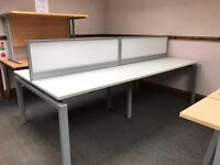 Bench Style Desking, In White. Seats 4 People. 2400mm Width x 1160mm Depth. 4 Sets Available.