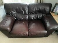 2 and 3 seater brown leather sofas - free to collector