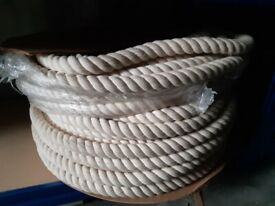10 Metre Length of New 32mm Cotton Rope