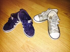 Adidas trainers and glitter converse infant 10