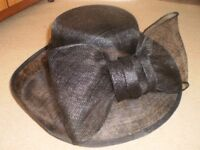Black Formal Event Hat with Large Bow Detail - Wedding - Mother of the Bride - Ascot