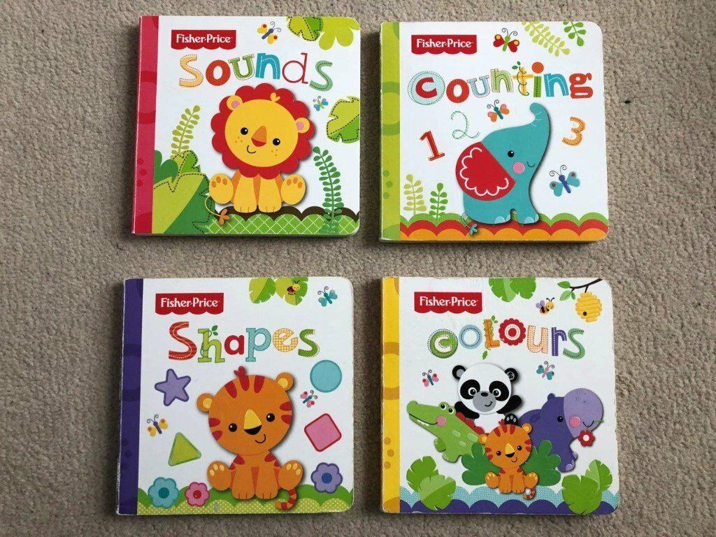 Fisher price books x4 books for baby - sounds, shapes, colours, counting