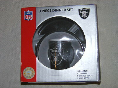 Football Oakland Raiders 3 Piece Dinner Feeding Baby Infant Gift Set NFL NIP