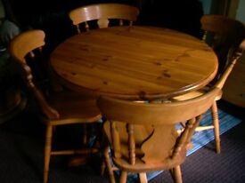 PINE, 4 CHAIRS ( OLD) AND TABLE RESTORED TO A HIGH STANDARD