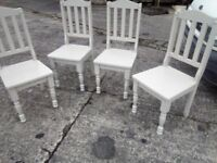 4 grey painted mexican pain chairs
