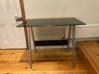 Black And Grey Office Desk With Tempered Glass