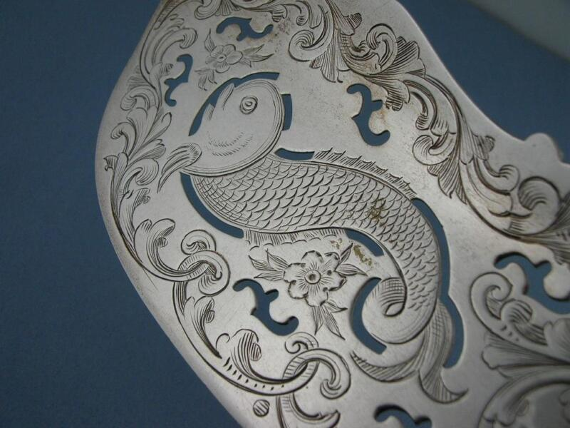 Coin Silver ALBERT COLES pierced Fish Server w/ engraved dolphin fish on blade