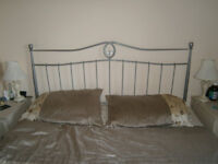 Silver Metal Bedhead for Kingsize Bed.
