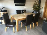 Dining table (solid oak)and 6 leather chairs