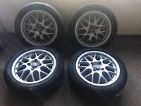 """Genuine 16"""" bbs alloy wheels newly powder coated with good tyres rx238 model 4 stud"""