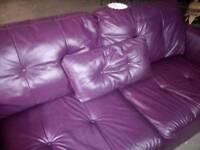 Stunning purple leather 3 seater sofa