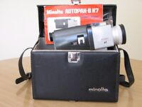 For sale a Vintage Minolta 8 mm movie camera with original owners manual and carrying case