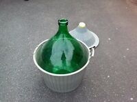 LARGE 54LITRE GLASS CARBOY / DEMIJOHN FOR WINEMAKING BREWING OR DECORATIVE USE.