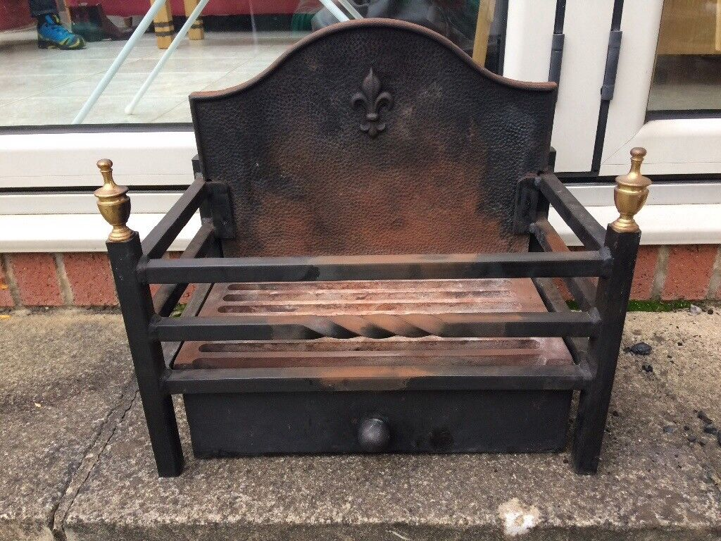 Cast iron fire basket with ash tray for sale