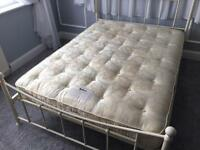 Beautiful shabby chic style cream double bed and mattress. Good condition.