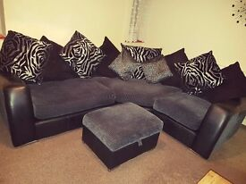 Corner Sofa with snuggle chair and storage foot stool