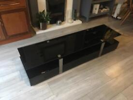 Black Tempered Glass TV media Unit with Drawers