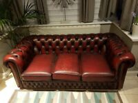 Two x 3 seater Red Chesterfield Sofas