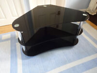 TV Black Glass Stand Corner Curved_Black and Silver_Grade A_ £50 ono