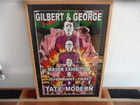 Signed Framed and Glazed Gilbert and George Tate Modern Exhibition Poster Ready to hang