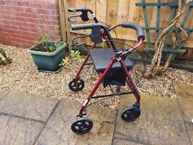 Mobility Walking Aid (Rollator) Height Adjustable - Lightweight Disabled Zimmer Frame Walker Stroll