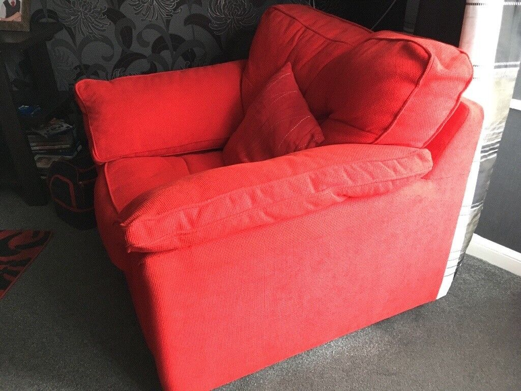 Red corduroy sofa and chairs set   in Prestwick, South Ayrshire ...