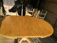 Dining table and 6 chairs pine